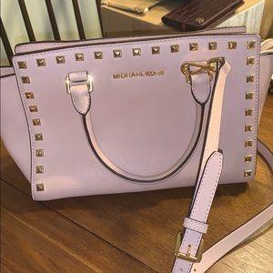 Michael Kors Selma Handbag Rose Pink Gold Studs